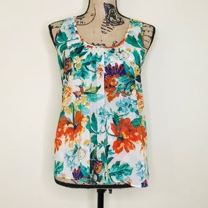 Anthropologie | Floral Split-Back Tank (XS)